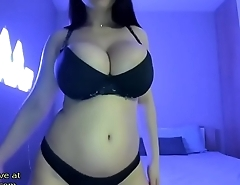 Huge boobs brunette tits play - live at link