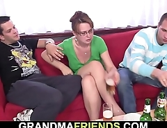 Cocksucking old mature woman riding another dick