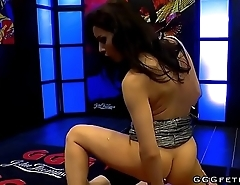 Hot brunette babe receiving hard cocks and gets cums
