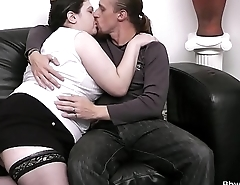 Wife finds him fucking BBW on the couch