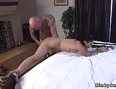 Gagged brunette spanked and anal fucked