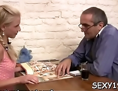 Old teacher is having fun fucking juvenile babe'_s chaste pussy