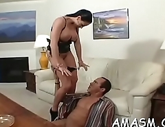 Superb home porn with busty woman facsitting while wanking penis