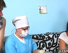 Medic watches hymen check-up and virgin kitten reaming