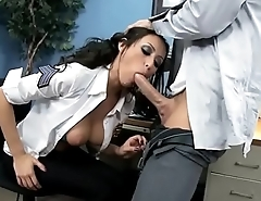 Horny police officer gives head to her coworker