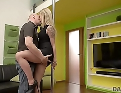 DADDY4K. Comely girl enjoys unexpected sex with her man'_s bald dad