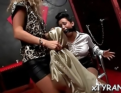 Playgirl gets coercive into lesbo sex during hot fetish session