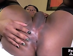 Black femboy in stockings wanking her BBC