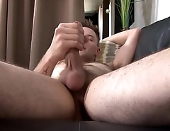 Tattooed army amateur stroking his wang