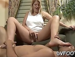 Dominatrix-bitch crushes lover with her feet and gets them sucked