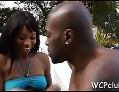 Black chick with massive boobs loves to get nailed very well
