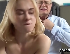 Cute schoolgirl is tempted and banged by older teacher
