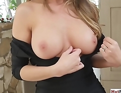 My frustrated busty MILF stepmother wants my big cock