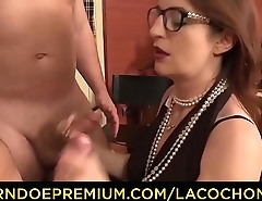 LA COCHONNE - Horny French amateur with glasses gets cum on tits in dirty MMF threesome