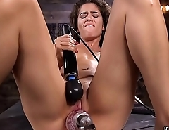Small tits babe takes monster machine