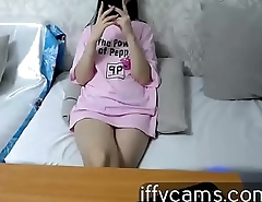 Girl model appearing on the webcam