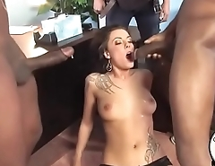 Giant black cocks explode cum all over cheating slut wife