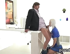 Lovable schoolgirl gets teased and poked by aged mentor