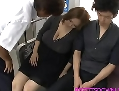 Big tits asian fucked on train